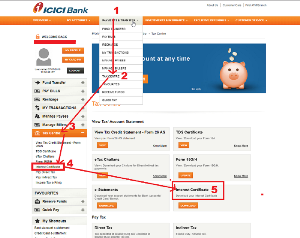 Interest received from a Deposit account in a FY in ICICI Bank