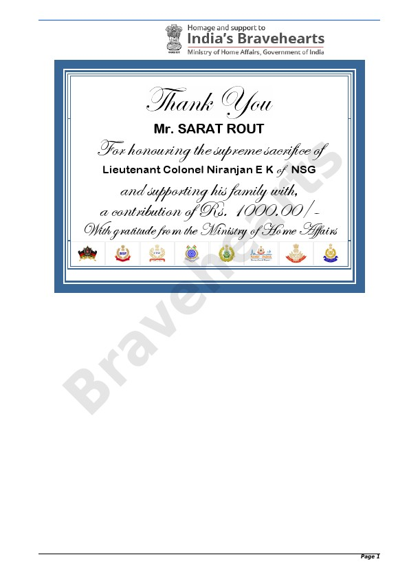 Donation Certificate to AWF